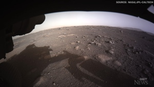 First colour images from the Perseverance rover as it touched ground on Mars were revealed by NASA, giving a new look at the planet landscape.