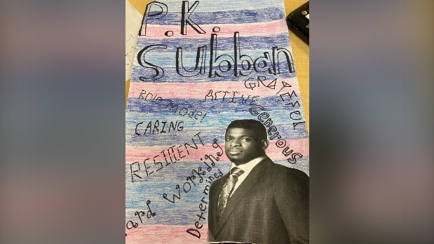 Noah Janzen's P.K. Subban poster is seen here. (Source: Twitter/@MsBrooksWRDSB)