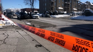 A woman's body was found shortly before 7 a.m. on Des Chateaux street on Sunday, Feb. 21, 2021. (Billy Shields, CTV News)