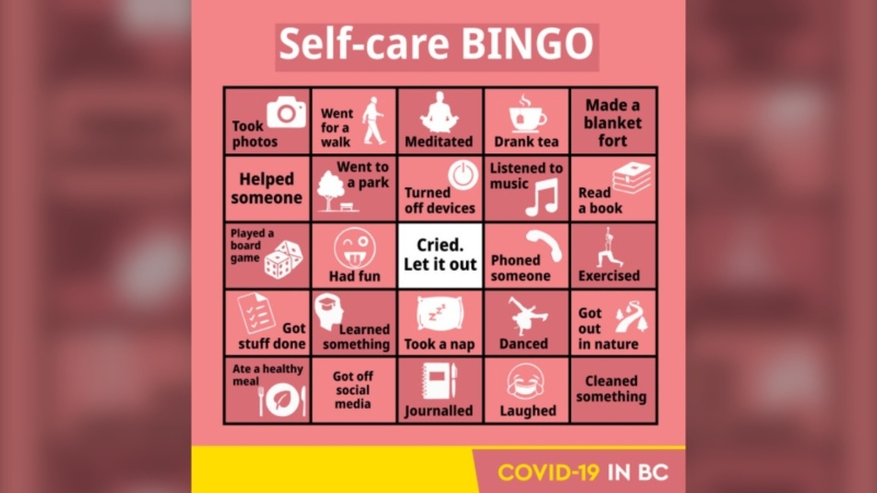 A self-care bingo card shared on the B.C. government Twitter account on Feb. 19, 2021.
