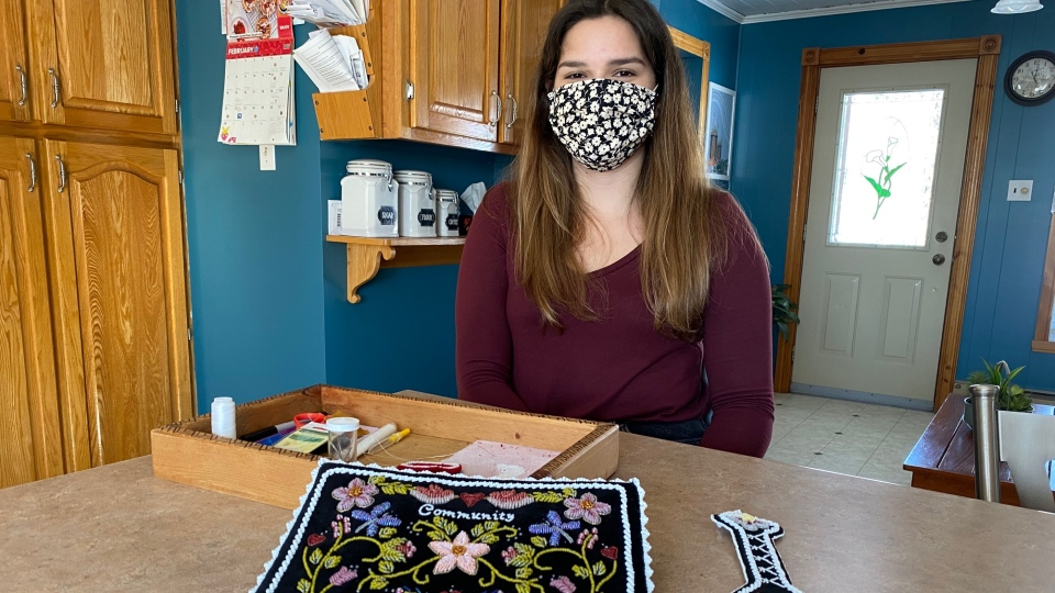 Belle Phillips of Kahnawake is one of nearly 100 beaders participating in the Community Isolation Beadwork Challenge. (Photo: CTV Montreal/Kelly Greig)