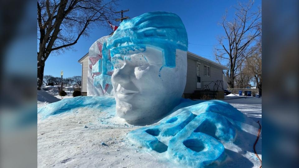 Jets ice sculpture