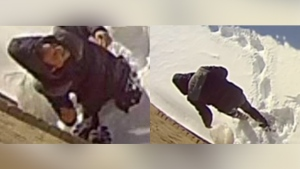 Security footage from Laval police shows a man allegedly involved in an arson attack on Feb. 11, 2021.