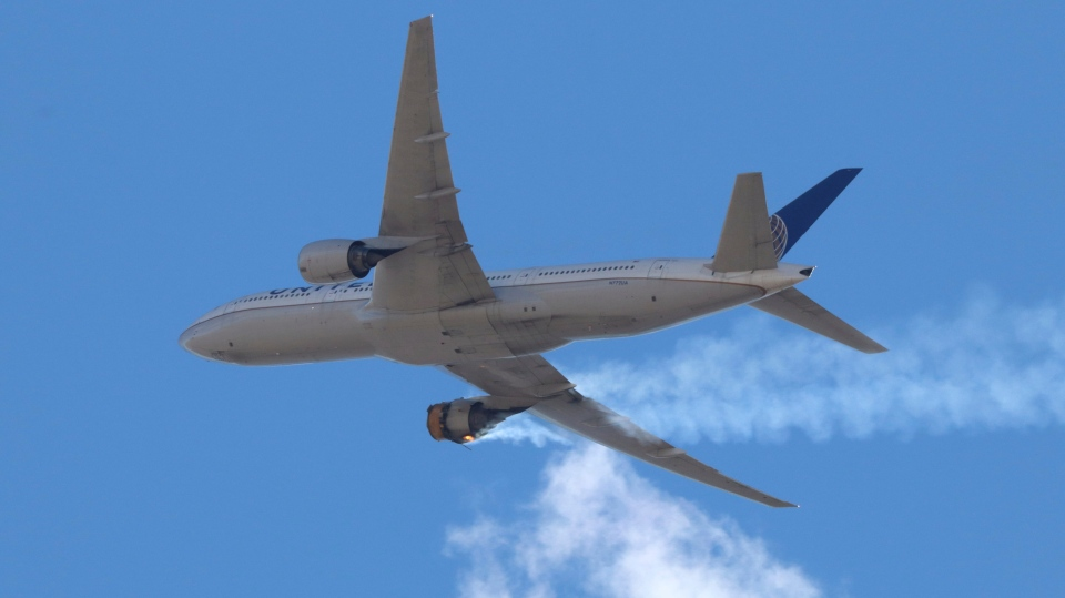United Airlines Flight 328 approaches Denver International Airport after experiencing a 'right engine failure' shortly after taking off from Denver on Feb. 20, 2021.