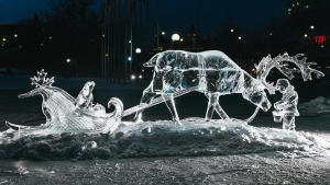 'Pit Stop' by Antonio Baisas, of Ottawa, claimed first place in the 2021 virtual Winterlude ice carving competition. (Photo courtesy of the Ministry of Canadian Heritage)