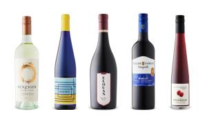 Benziger Family Winery Sauvignon Blanc 2018, Modernist Dry Riesling 2019, Elouan Pinot Noir 2016, Peller Family Vineyards Merlot 2018, Southbrook Vineyards Framboise