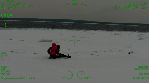 Hikers were rescued from an ice floe near Tobermory, Ont. on Feb. 21, 2021. (Source: OPP)