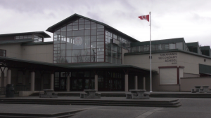 Tamanawis Secondary School in Surrey, B.C., is pictured on Monday, Feb. 22, 2021.