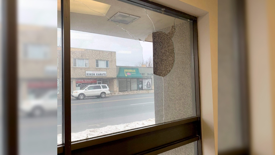 WE Trans Support office experienced vandalism and property damage for the third time on Monday, Feb. 22, 2021. (courtesy Alexander Reid)