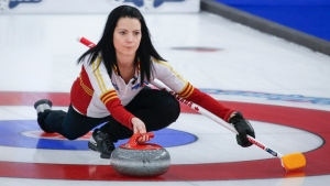 Team Canada skip Kerri Einarson makes a shot against Team Northern Ontario at the Scotties Tournament of Hearts in Calgary, Alta., Sunday, Feb. 21, 2021.THE CANADIAN PRESS/Jeff McIntosh