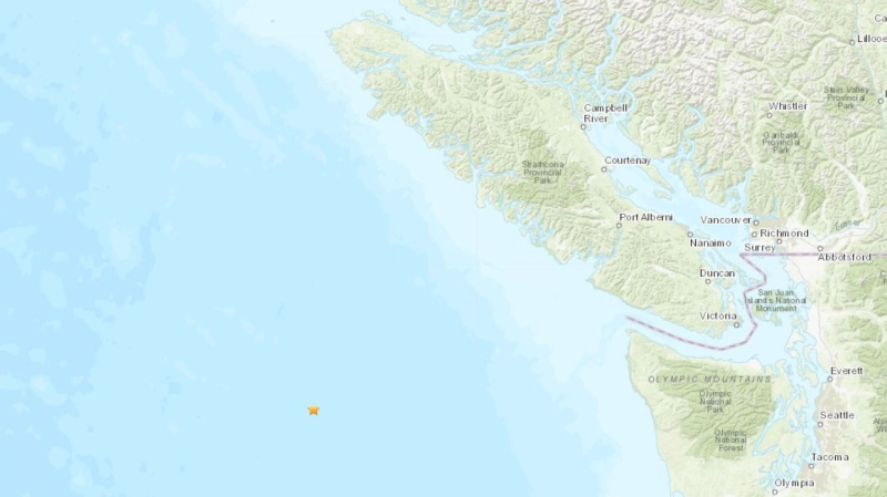 The location of the earthquake is shown: Feb. 22, 2021 (US Geological Survey)