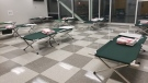 Inside the temporary shelter at Windsor International Aquatic and Training Centre in Windsor, Ont. (courtesy City of Windsor)