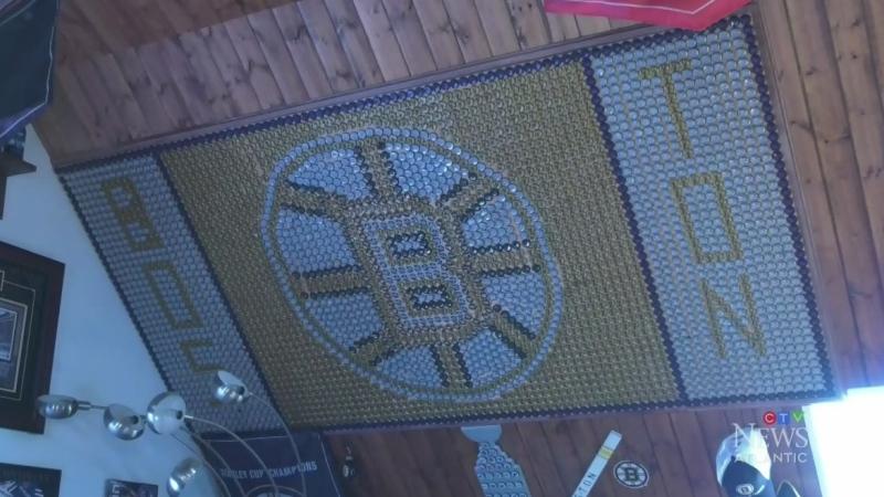 Beer cap mosaic honours Original Six