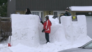 The Grimes family built a snow castle as big as their front yard. (Dave Charbonneau / CTV News Ottawa)