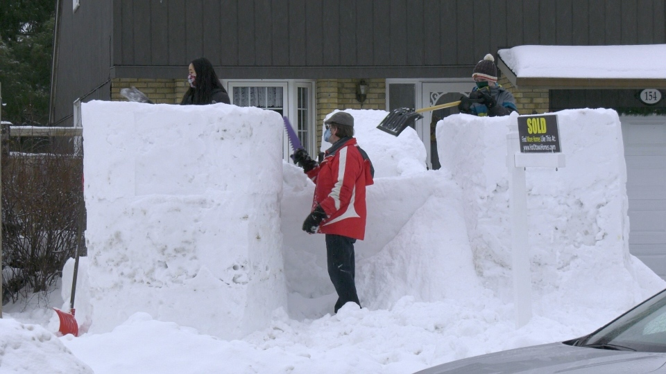 Grimes family snow fort