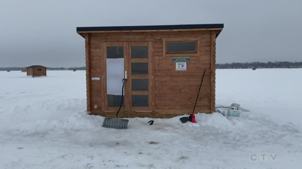 An ice hut on Lake Simcoe in Keswick, Ont., was targeted by vandals. (Rob Cooper/CTV News)
