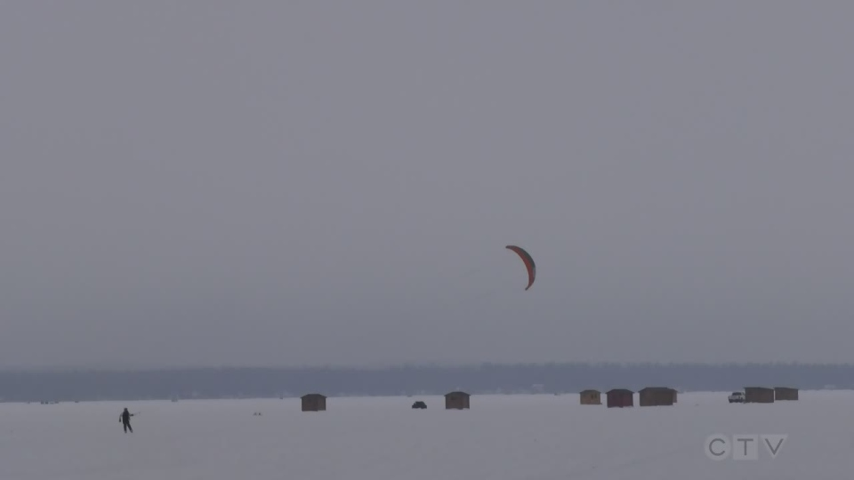 Several ice huts on Lake Simcoe in Keswick, Ont., were damaged on Sun., Feb. 21, 2021 (Rob Cooper/CTV News)