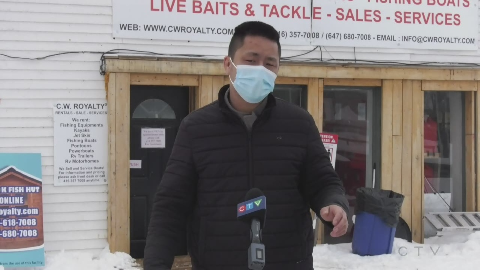 Kevin Cao, owner of CW Marine & Powersports says his ice huts were broken into and damaged on Sun., Feb. 21, 2021 (Rob Cooper/CTV News)