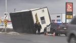 Trailer falls off truck