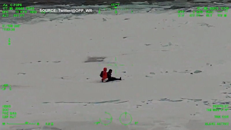 Hikers rescued from sheet of ice