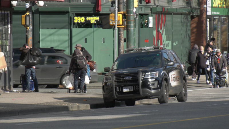 A police car is seen in Vancouver's Downtown Eastside in this CTV News file image.