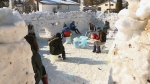 Up to 400 students from Marie-Anne-Gaboury School worked to build this massive snow fort in just four days.