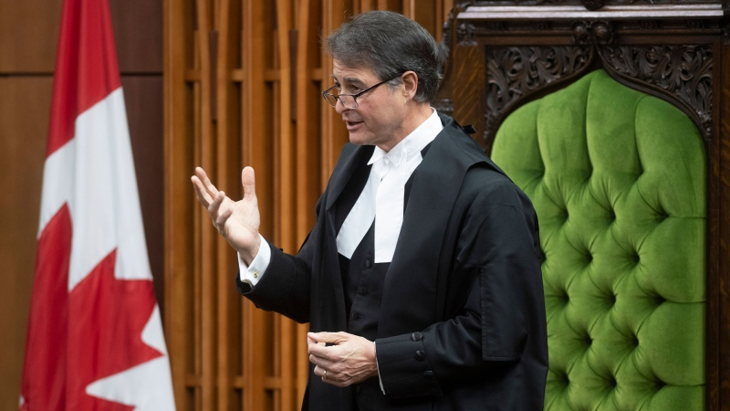 Speaker of the House of Commons Anthony Rota rises in the House of Commons, Wednesday, May 13, 2020 in Ottawa. Virtual voting options are under review by the committee of MPs tasked with figuring out how to run Parliament in the COVID-19 era. THE CANADIAN PRESS/Adrian Wyld