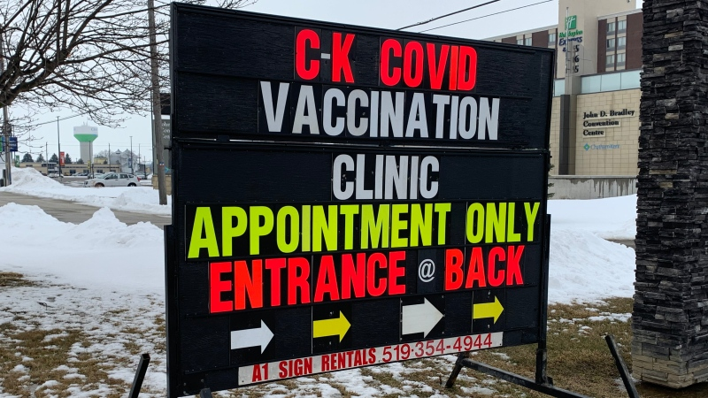 CK COVID-19 vaccination clinic in Chatham-Kent, Ont. on Monday, Feb. 23, 2021. (Chris Campbell / CTV Windsor)