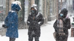 Pedestrians bundle up against the snow and COVID-19 as they walk downtown, Monday, February 22, 2021 in Montreal.THE CANADIAN PRESS/Ryan Remiorz