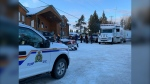RCMP and local snowmobilers assemble in Whiteshell Provincial Park to search for Dan LeMay, who has been missing since Monday. (CTV News Photo Jamie Dowsett)