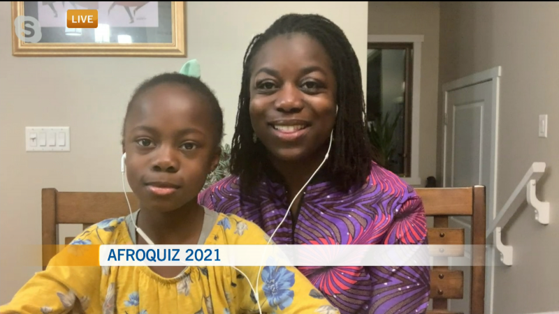 Mom Karen Richards and daughter Aysha Richards are preparing for this year's AfroQuiz, whose theme was inspired by the pandemic.