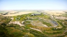 Artist rendering of Badland Motorsports' plans for a $500M motor sports racing park east of the hamlet of Rosebud, Alta. (Badland Motorsports)