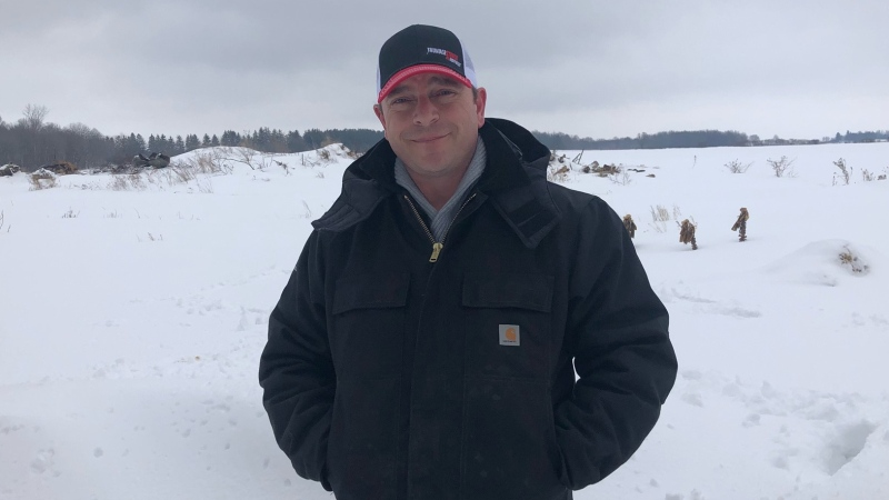 Micro-farmer Jeff King at his farm in Lakeside, Ont. on Tuesday, Feb. 23, 2021. (Jordyn Read / CTV News)