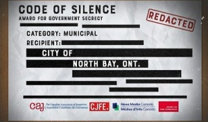 The City of North Bay has been named No. 1 in a race no community wants to win: government secrecy. (Supplied)