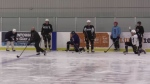 OHL players practice at the Western Fair in London, Ont. on Feb. 23, 2021. (Brent Lale/CTV London)
