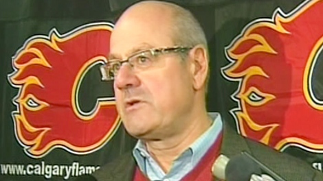 Calgary Flames CEO Ken King speaks to the media on Tuesday, Nov. 3, 2009.