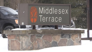 A sign for Middlesex Terrace in Delaware, Ont. is seen Friday, Feb. 19, 2021. (Daryl Newcombe / CTV News)