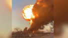A train carrying liquid petroleum exploded after a collision with an 18-wheeler in Cameron, Texas.