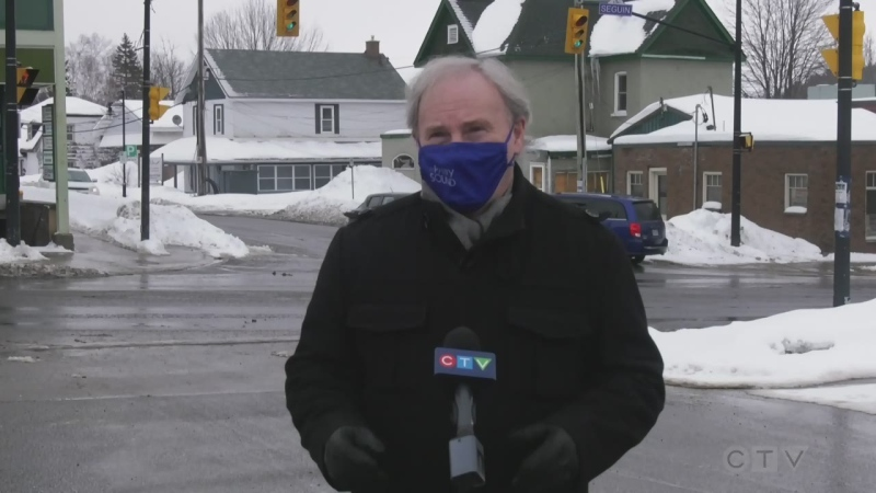 Parry Sound Mayor Jamie McGarvey calls for the region to be moved from lockdown on Tues., Feb. 23, 2021 (Rob Cooper/CTV News)