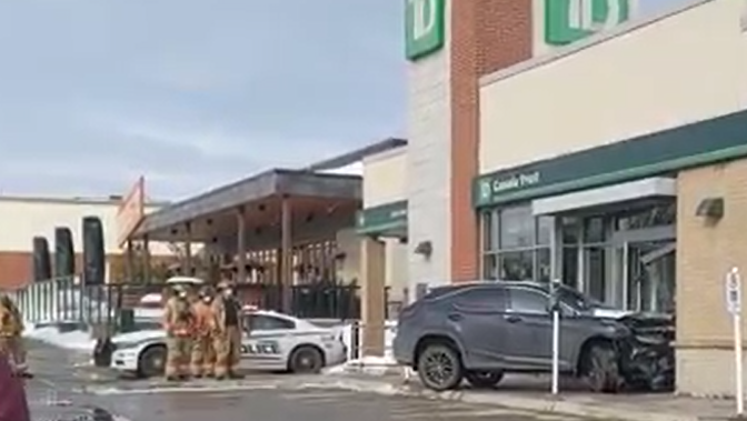 Car slams into TD Bank on Colonel Talbot Road in London Ont. on Feb. 23, 2021. (Source: Alessio Donnini)