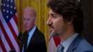 United States President Joe Biden listens as Canadian Prime Minister Justin Trudeau delivers his statement during a virtual joint statement following a virtual meeting in Ottawa, Tuesday, February 23, 2021. THE CANADIAN PRESS/Adrian Wyld