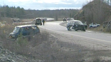 Some of the wrecked vehicles on Highway 400 just east of Honey Harbour on Tuesday, Nov. 3, 2009.