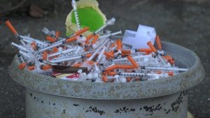 Hundreds of needles found in an alley off Pandora Avenue in Downtown Victoria are shown: Feb. 23, 2021 (CTV News)