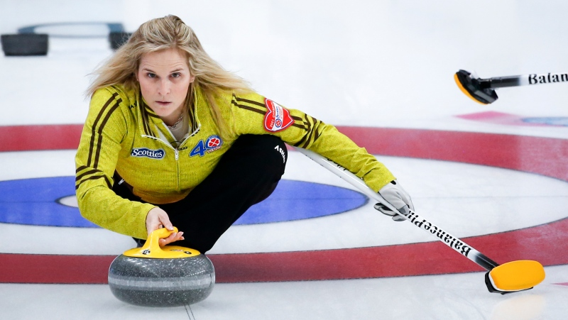 Team Manitoba skip Jennifer Jones makes a shot against Team Saskatchewan at the Scotties Tournament of Hearts in Calgary, Alta., Monday, Feb. 22, 2021.THE CANADIAN PRESS/Jeff McIntosh