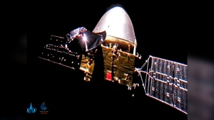 This file image made available by the China National Space Administration on Wednesday, Dec. 16, 2020, shows the Tianwen-1 probe en route to Mars. (CNSA via AP, File)