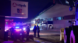 A man allegedly attempted to burn an arena in St-Lin-Laurentides and then leading police on a car chase through the town. (Cosmo Santamaria/CTV News)