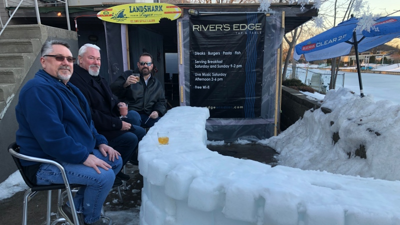 River's Edge Tap and Table converted a portion of their outdoor patio an ice bar in Windsor, Ont., on Tuesday, Feb. 23, 2021. (Angelo Aversa / CTV Windsor)