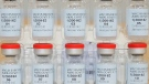 This Dec. 2, 2020 photo provided by Johnson & Johnson shows vials of the Janssen COVID-19 vaccine in the United States. Johnson & Johnson's single-dose vaccine protects against COVID-19, according to an analysis by U.S. regulators Wednesday, Feb. 24, 2021, that sets the stage for a final decision on a new and easier-to-use shot to help tame the pandemic. The Food and Drug Administration's scientists confirmed that overall, it's about 66% effective and also said J&J's shot, one that could help speed vaccinations by requiring just one dose instead of two, is safe to use. (Johnson & Johnson via AP)