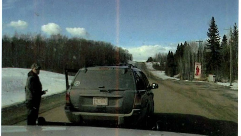 RCMP say a man pointed a rifle at a peace officer during a traffic stop near Cow Lake, Alberta, on Feb. 23, 2021. The man turned himself in hours later. (Photo provided.)