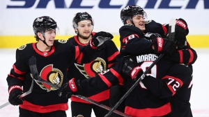 Ottawa Senators centre Josh Norris (9) celebrates his game winning shoot-out goal against the Montreal Canadiens with teammates during NHL action in Ottawa on Tuesday, Feb. 23, 2021. (Sean Kilpatrick/THE CANADIAN PRESS)
